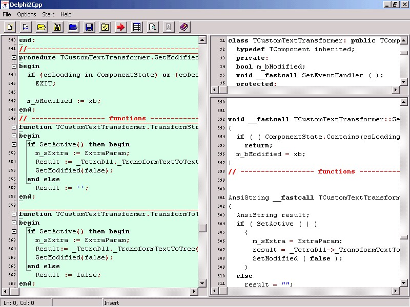 Click to view Delphi2Cpp 1.6.3 screenshot