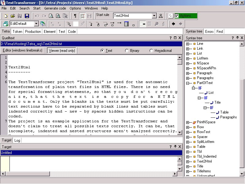 Text analyze extraction transformation workbench Screen Shot